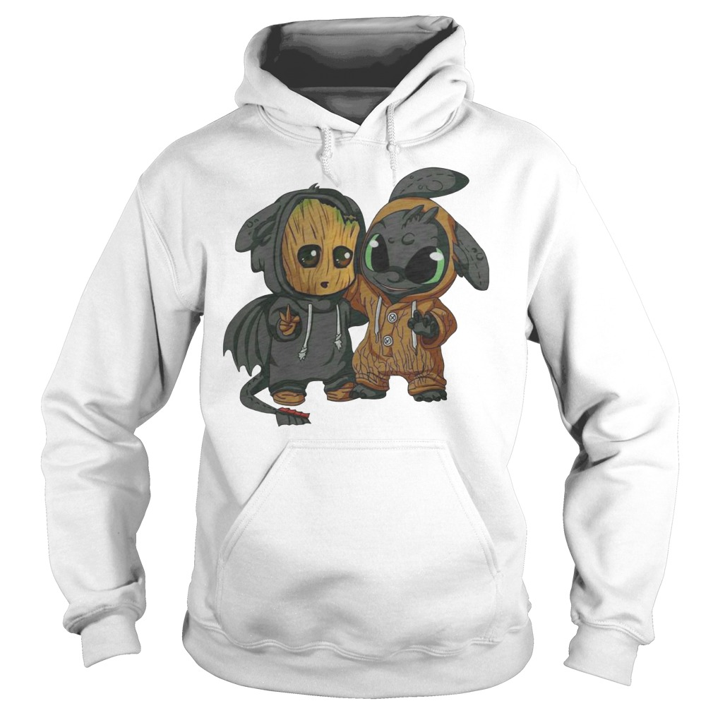 Baby Groot and Night Fury Hoodie