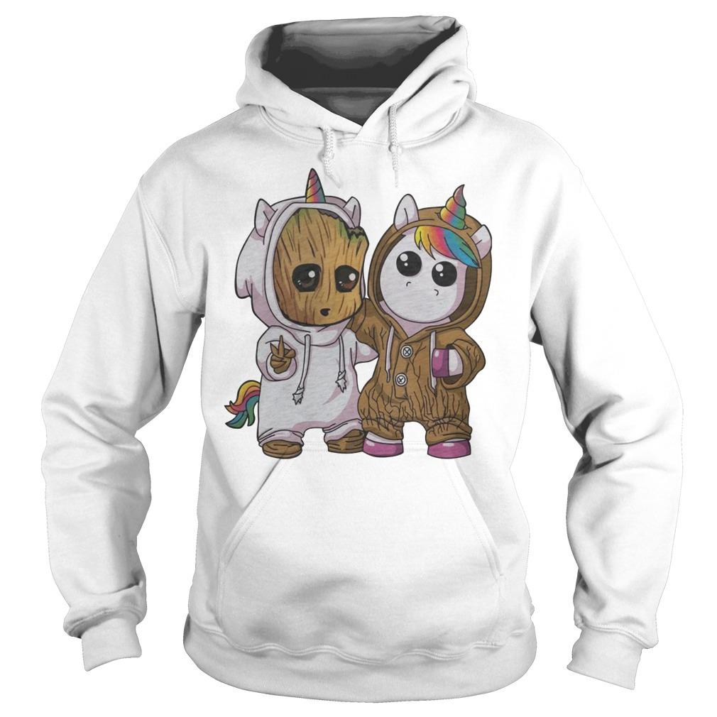 Baby Groot and Unicorn Hoodie