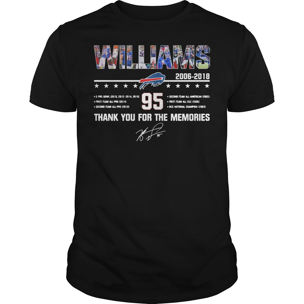 Buffalo Bills Williams 2006 2018 95 thank you for the memories Guys t-shirt