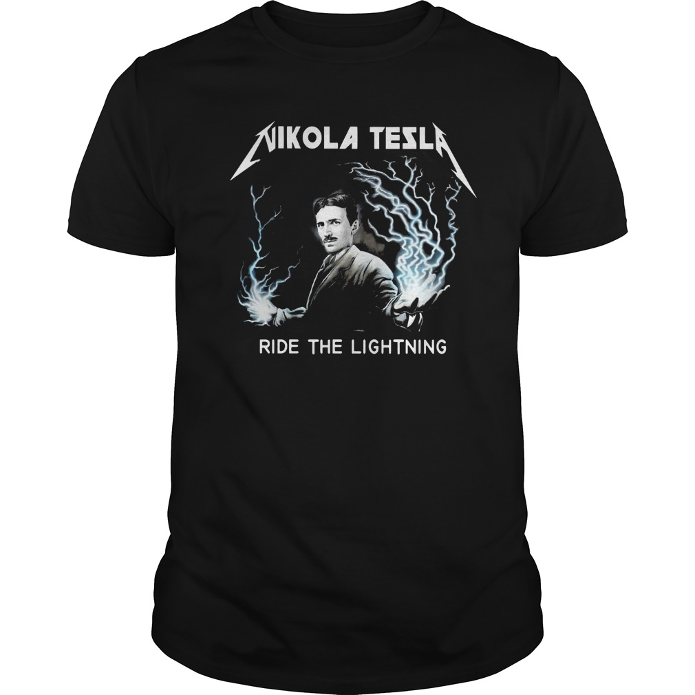 Nikola tesla ride the lightning Guys t-shirt