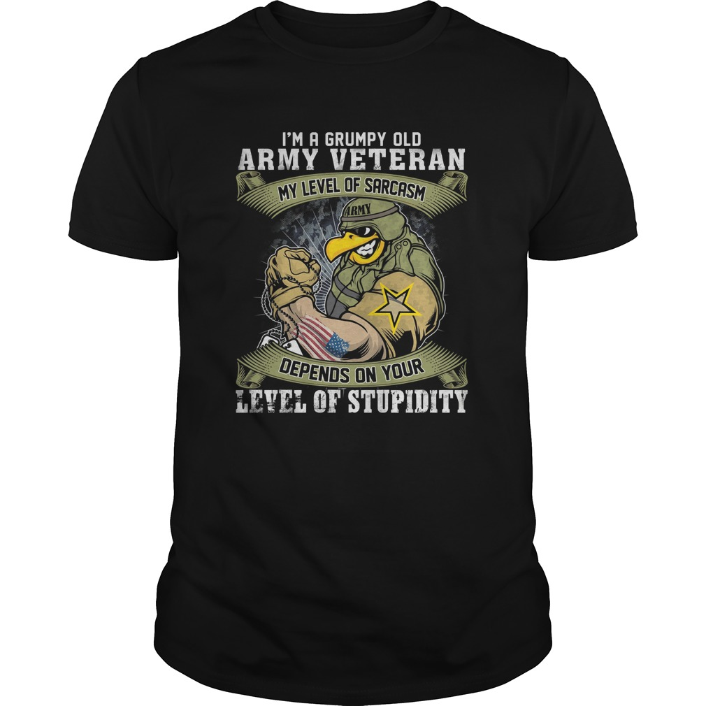I'm a grumpy old army veteran my level of sarcasm depends on your level of stupidity Guys t-shirt