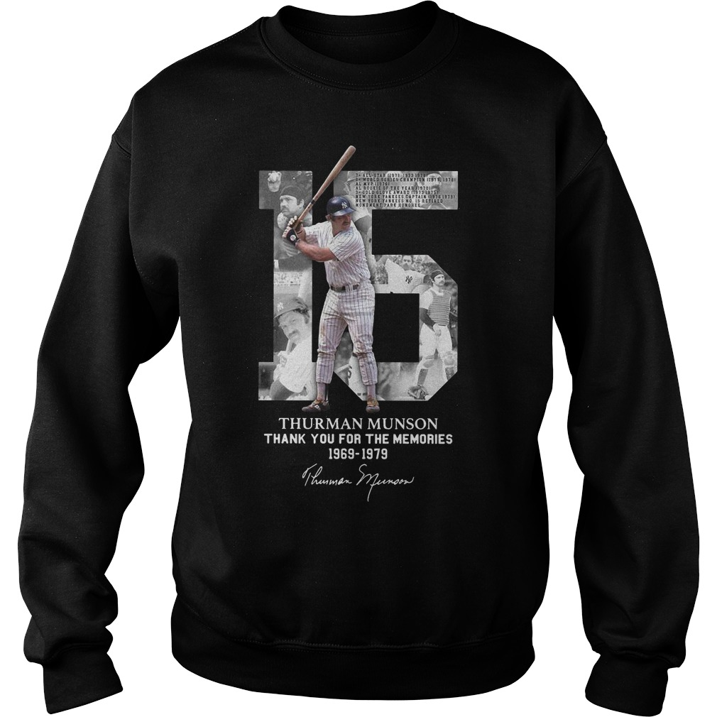 15 Thurman Munson thank you for the memories 1969 1979 Sweater