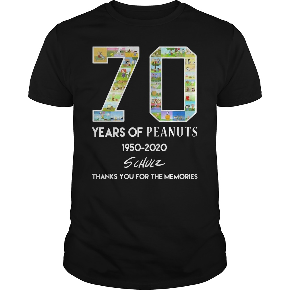 70 years of peanuts 1950 2020 schulz thank you for the memories Guys t-shirt