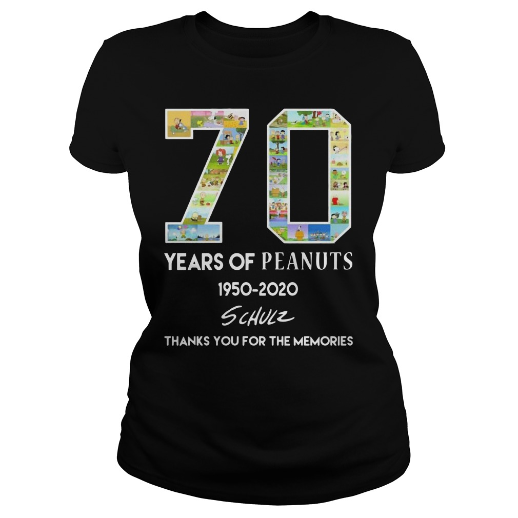 70 years of peanuts 1950 2020 schulz thank you for the memories Ladies t-shirt