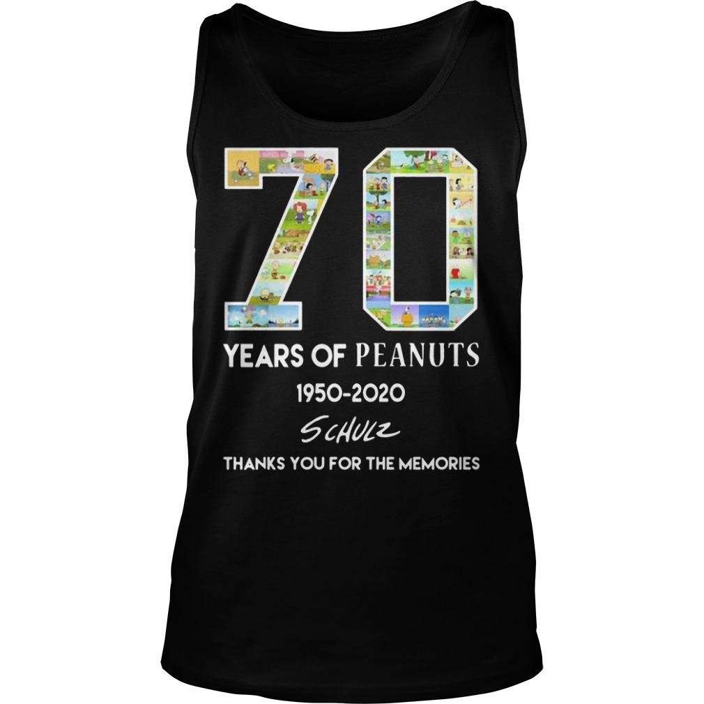 70 years of peanuts 1950 2020 schulz thank you for the memories Tank top