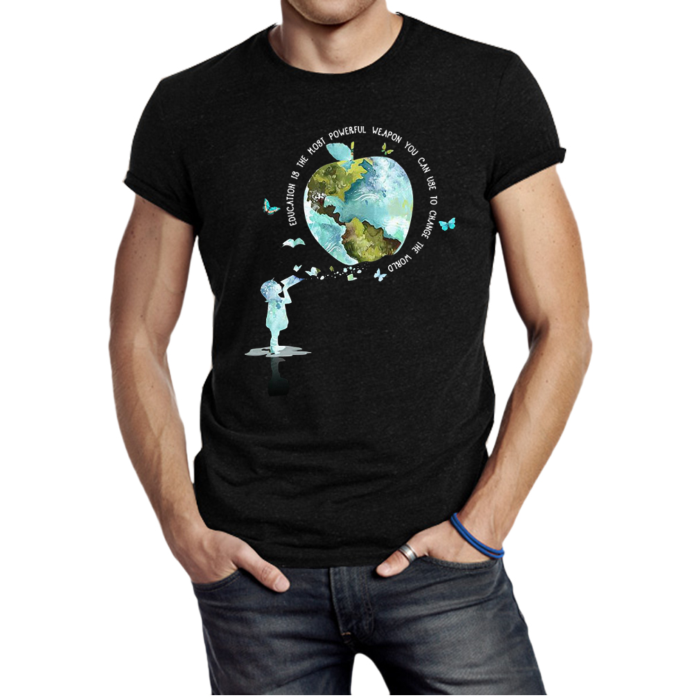 Apple earth education is the most powerful weapon you can use to change the world shirt