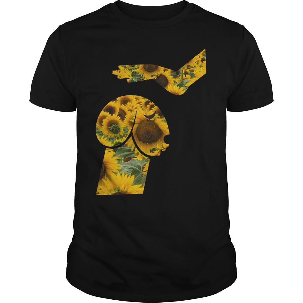 Hand touching dachshund head like penis sunflower Guys t-shirt