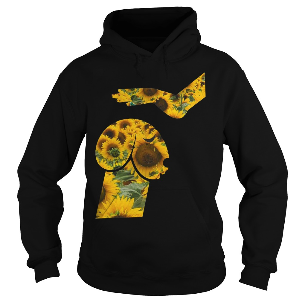 Hand touching dachshund head like penis sunflower Hoodie