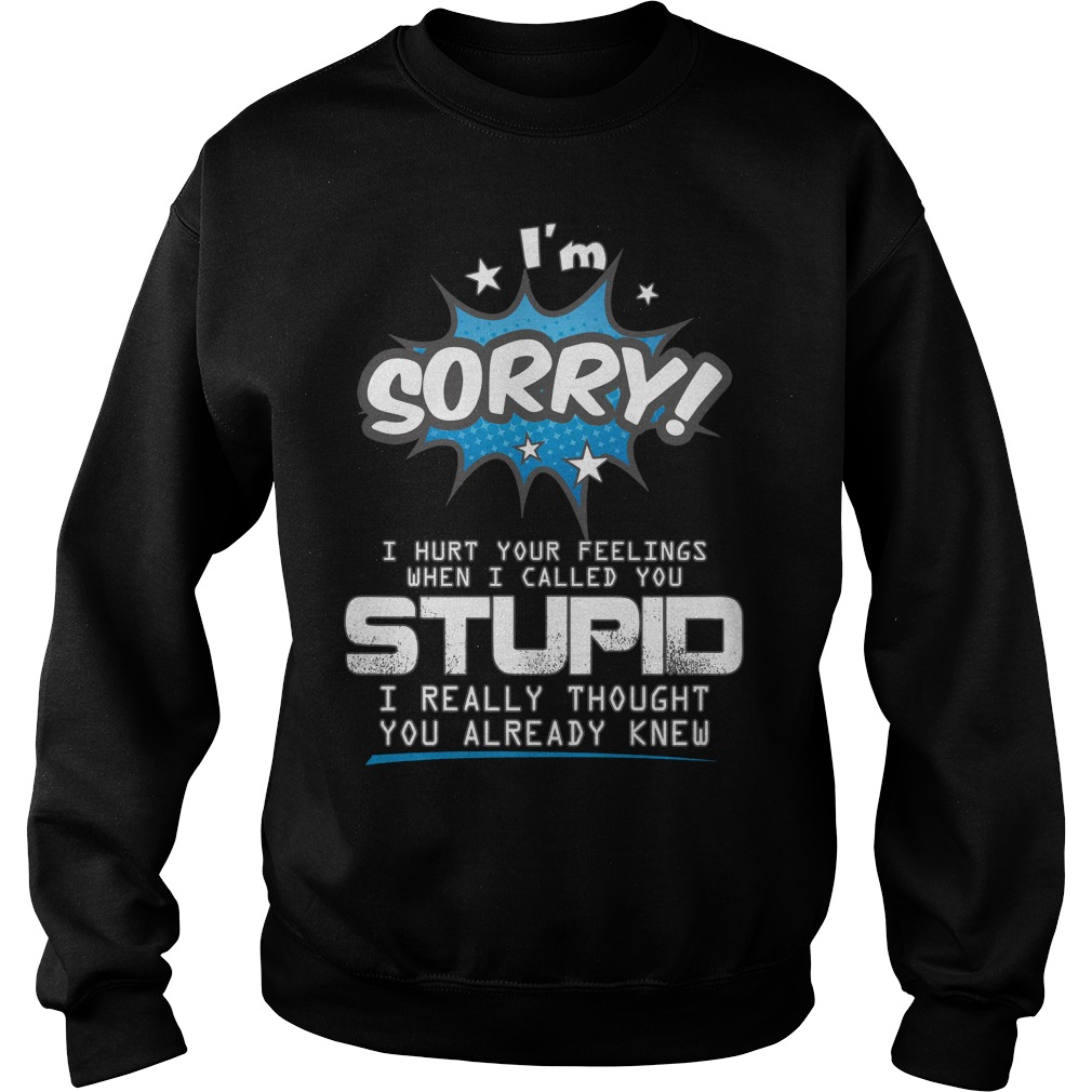 I'm sorry I hurt your feelings when I called you stupid I really thought you already knew Sweater