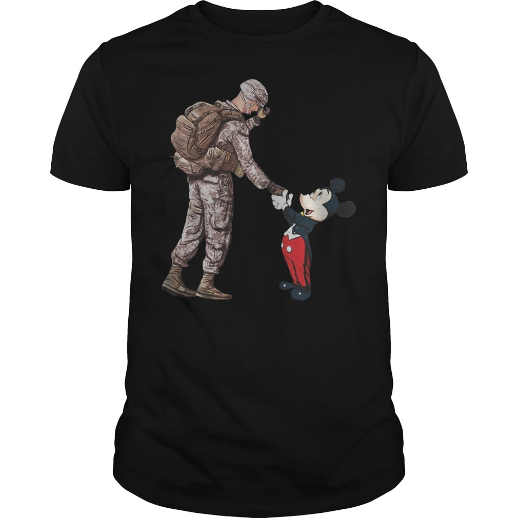 Mickey mouse and veteran soldier Guys t-shirt