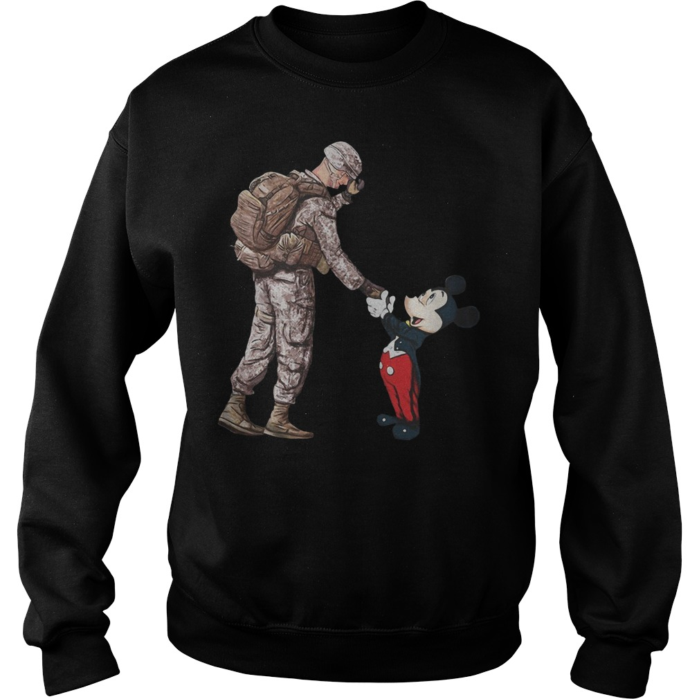 Mickey mouse and veteran soldier Sweater
