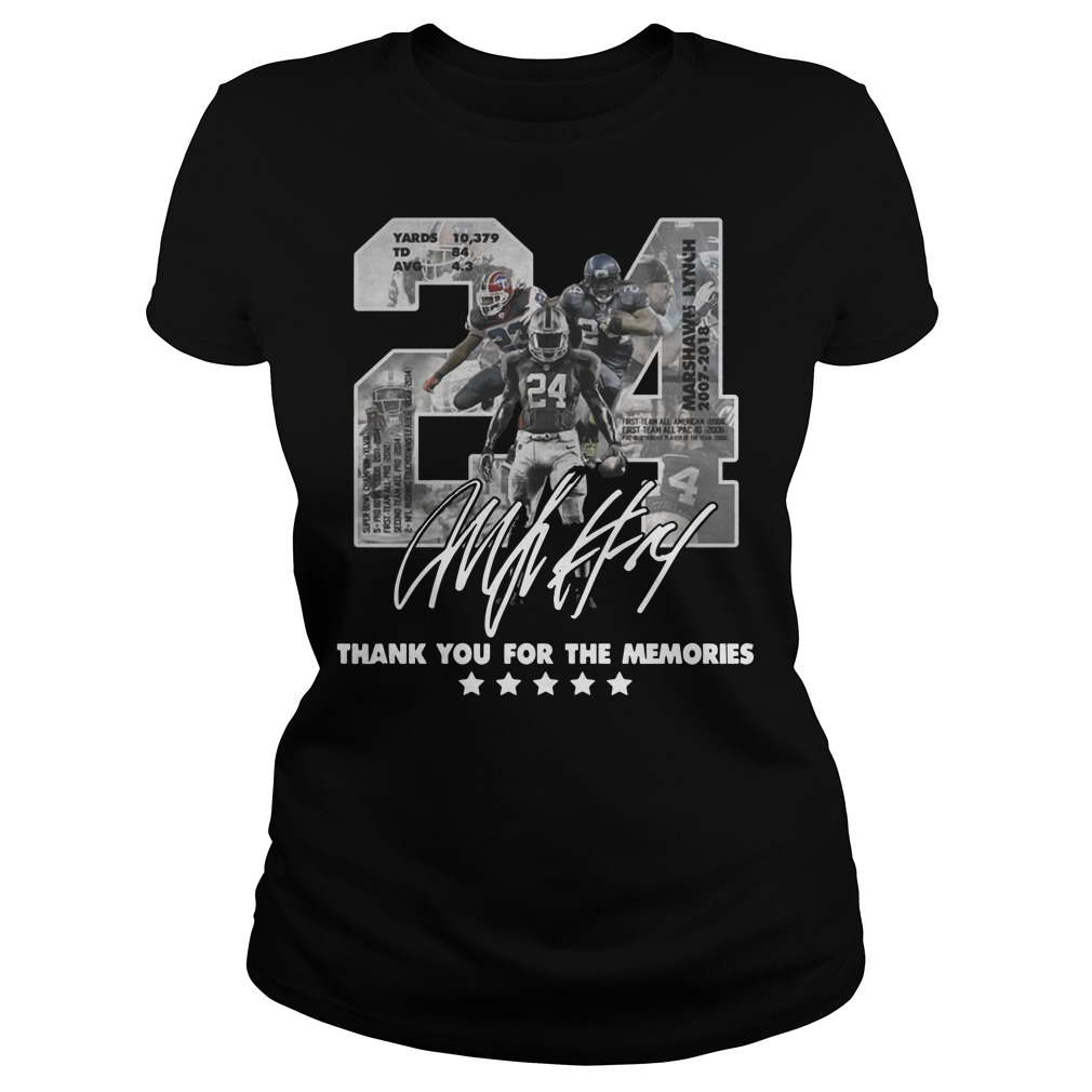 24 Marshawn Lynch thank you for the memories Ladies t-shirt