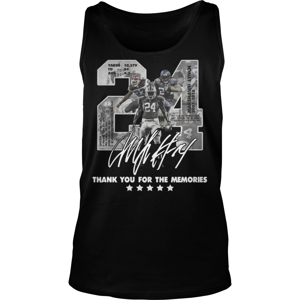 24 Marshawn Lynch thank you for the memories Tank top