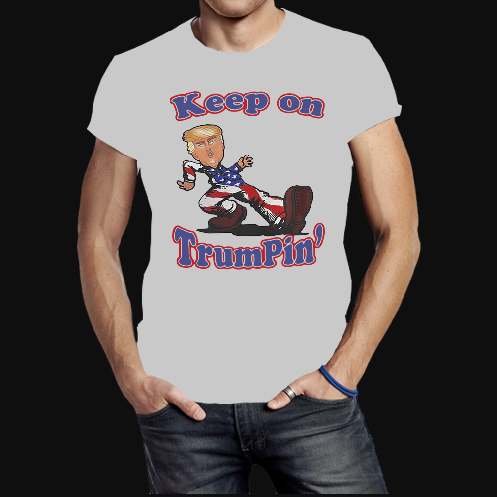 Keep on Trumpin Donald Trump in American flag shirt