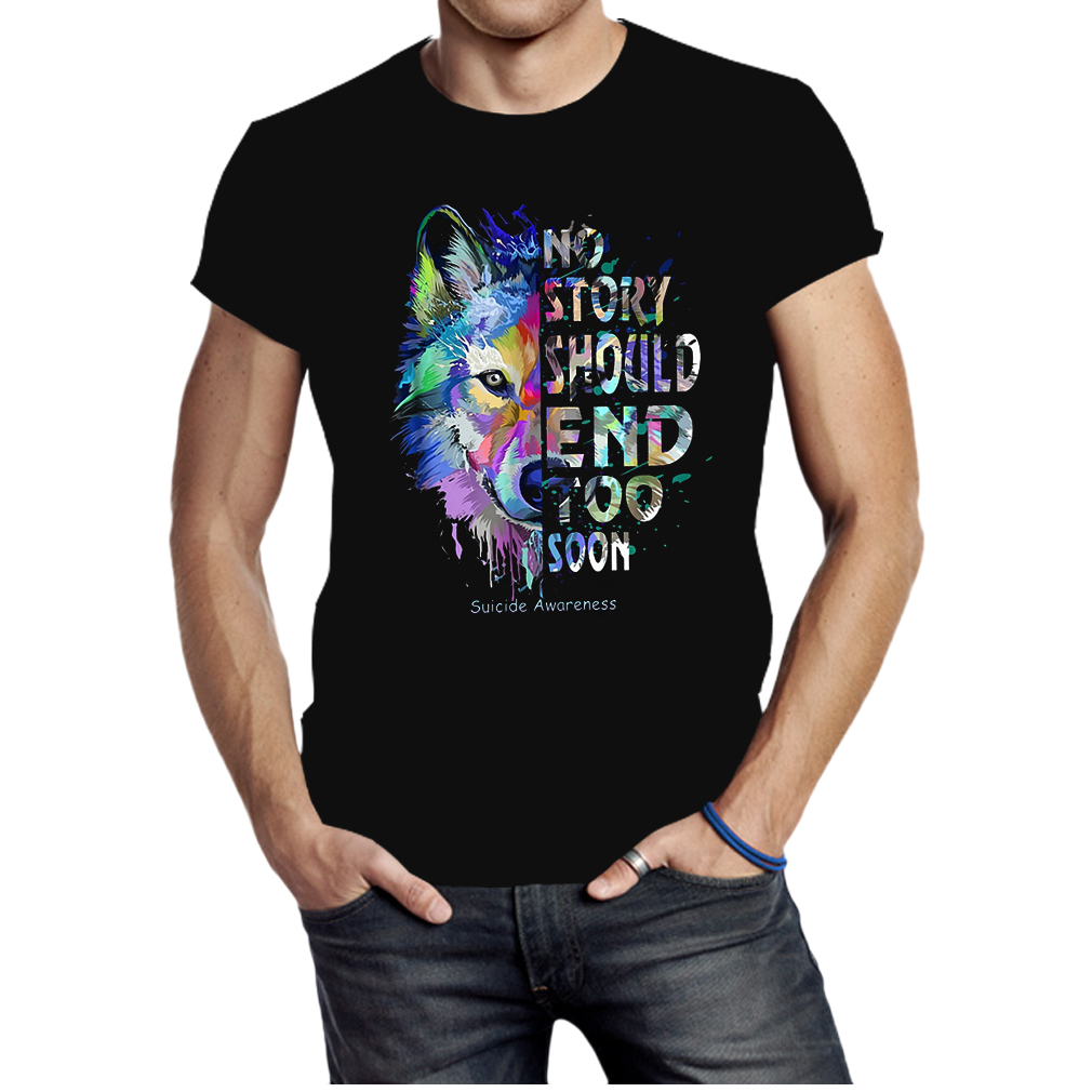 Wolf no story should end too soon suicide awareness shirt