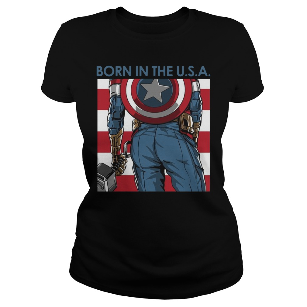 Avengers Captain America born in the USA Ladies t-shirt