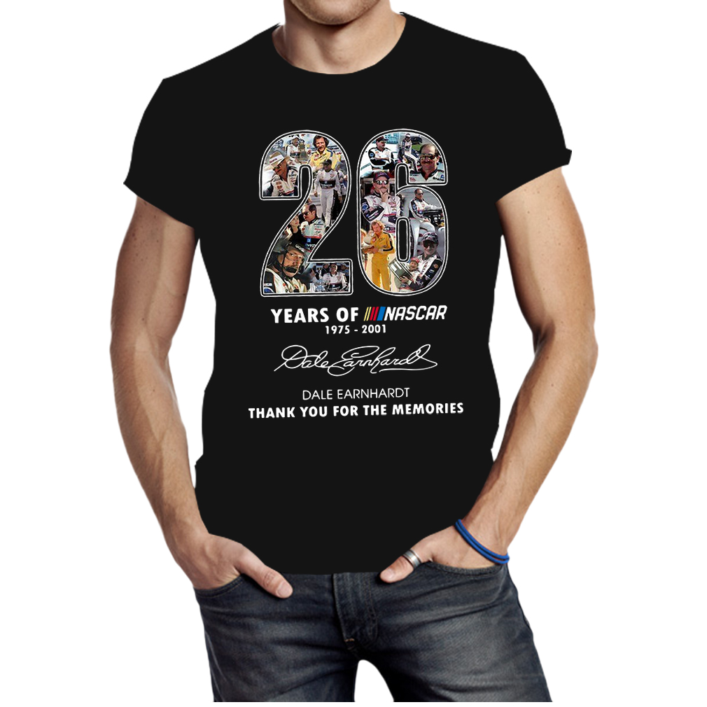 26 years of nascar 1975 2001 Date Earnhardt thank you for the memories shirt