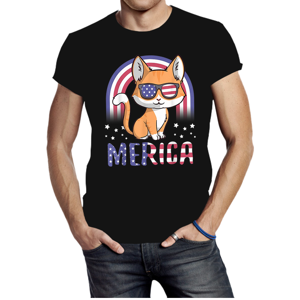 Merica Cat Patriotic 4th of July American Flag shirt