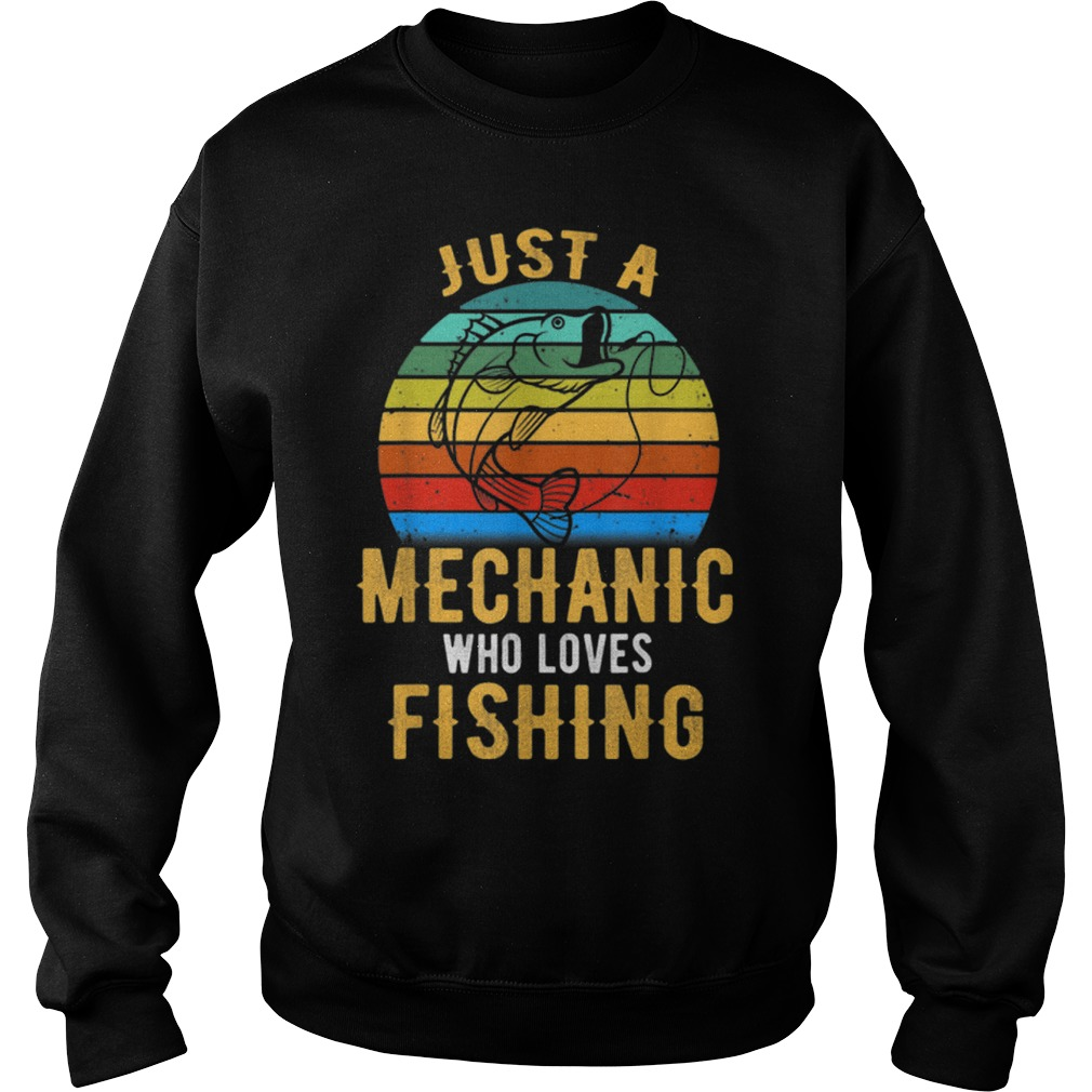Just A Mechanic Who Loves Fishing vintage Sweater