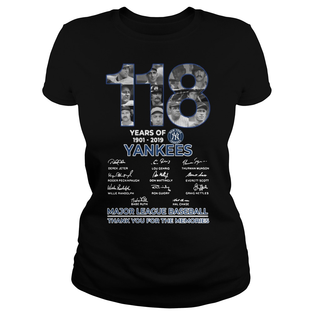 118 Years Of New York Yankees Thank You For The Memories Ladies t-shirt