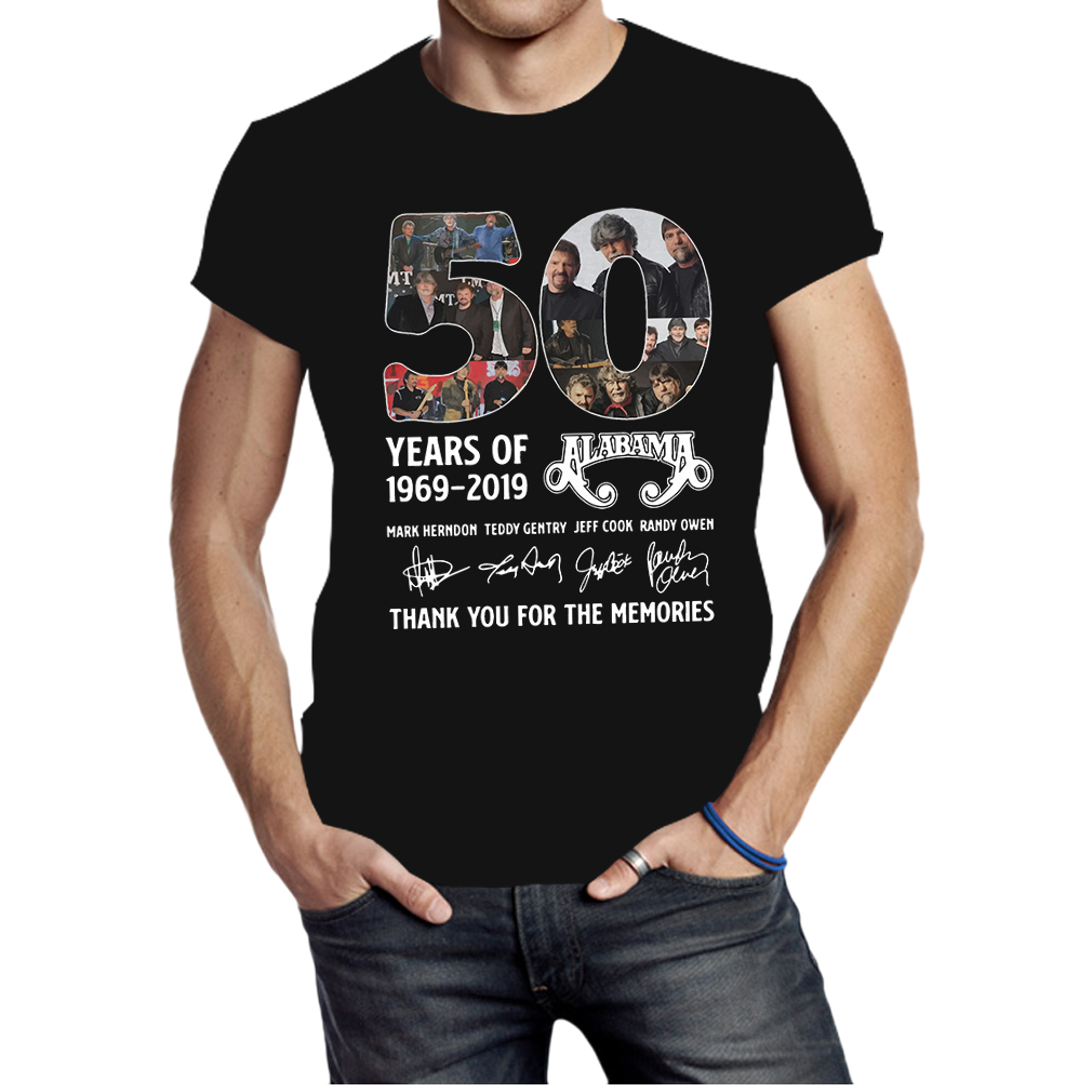 50 years of alabama 1969 2019 thank you for the memories shirt