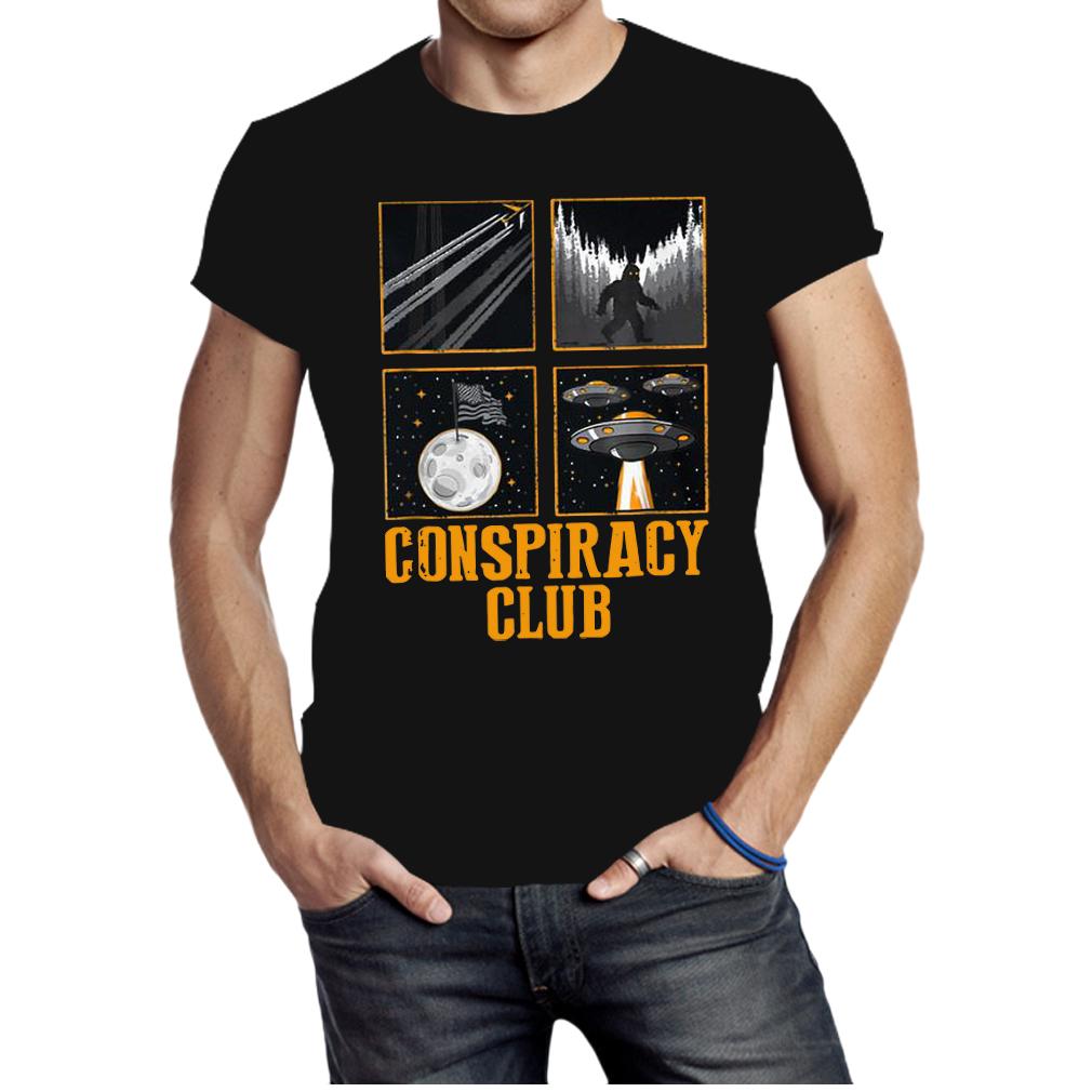 Conspiracy Club Bigfoot Ufo Aliens Moon Landing shirt