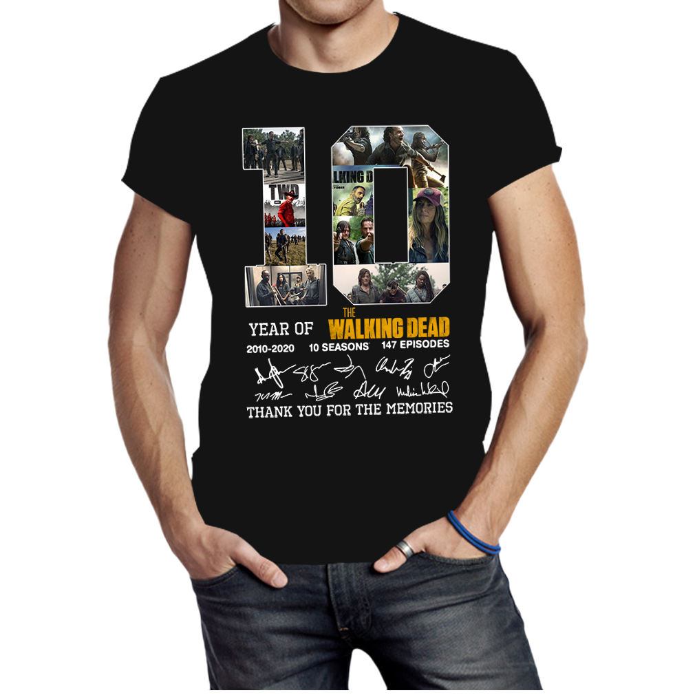The walking dead 10th anniversary 2010-2020 thank you for the memories shirt