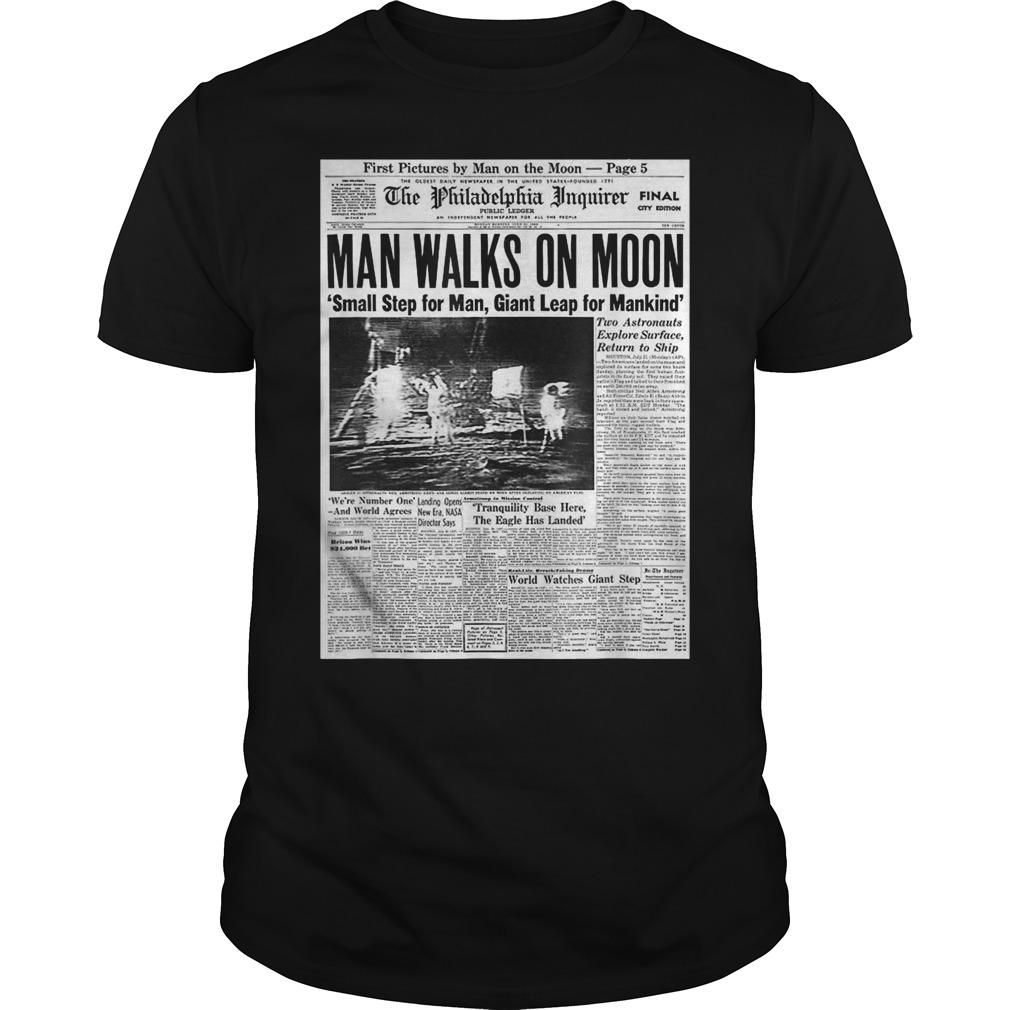 Apollo 11 50th Anniversary Moon Landing 1969 Newspaper Guys t-shirt