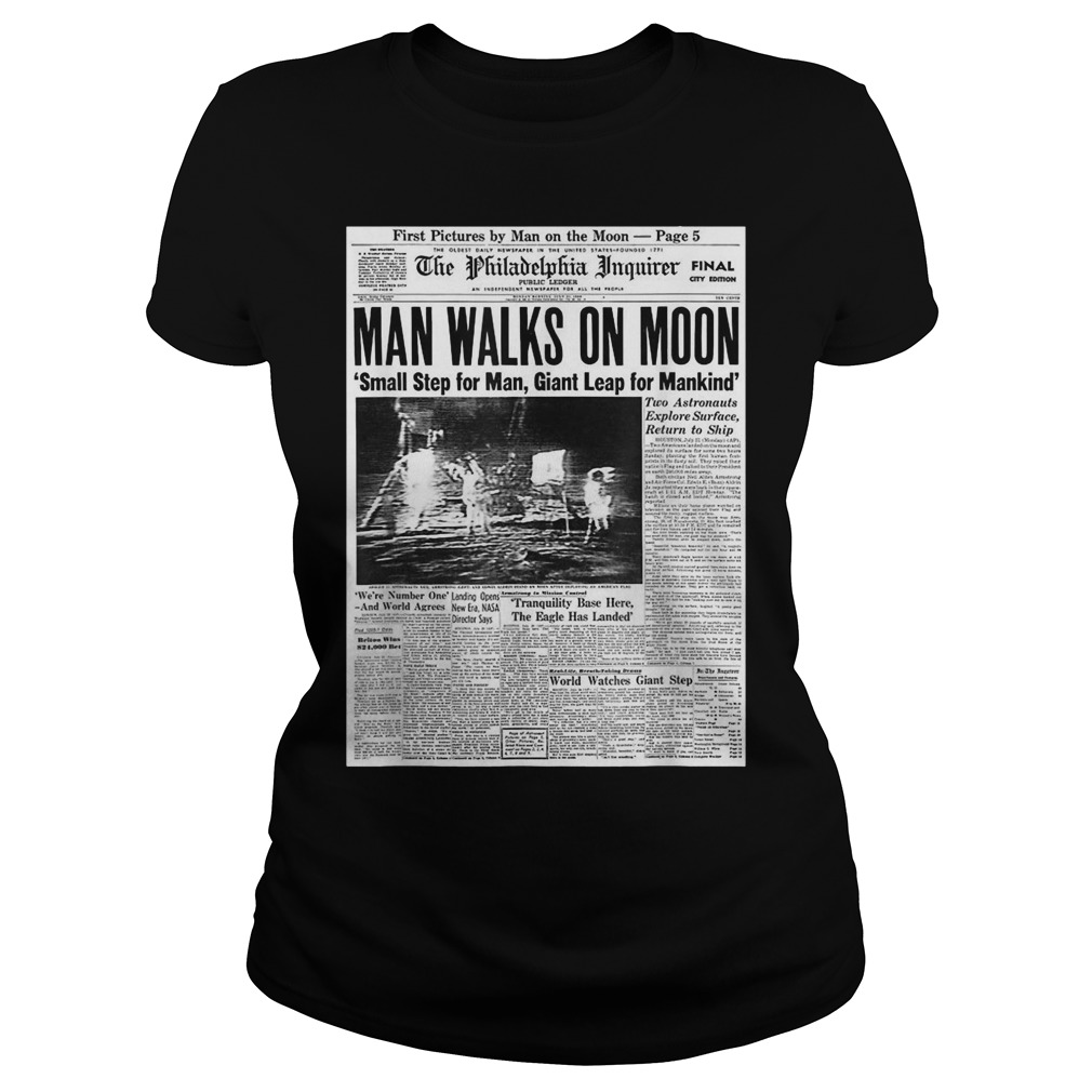 Apollo 11 50th Anniversary Moon Landing 1969 Newspaper Ladies t-shirt