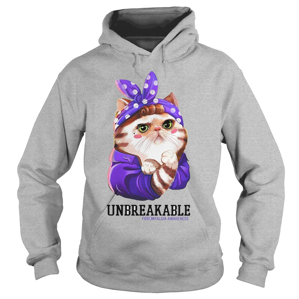 Cat Unbreakable fibromyalgia awareness Hoodie