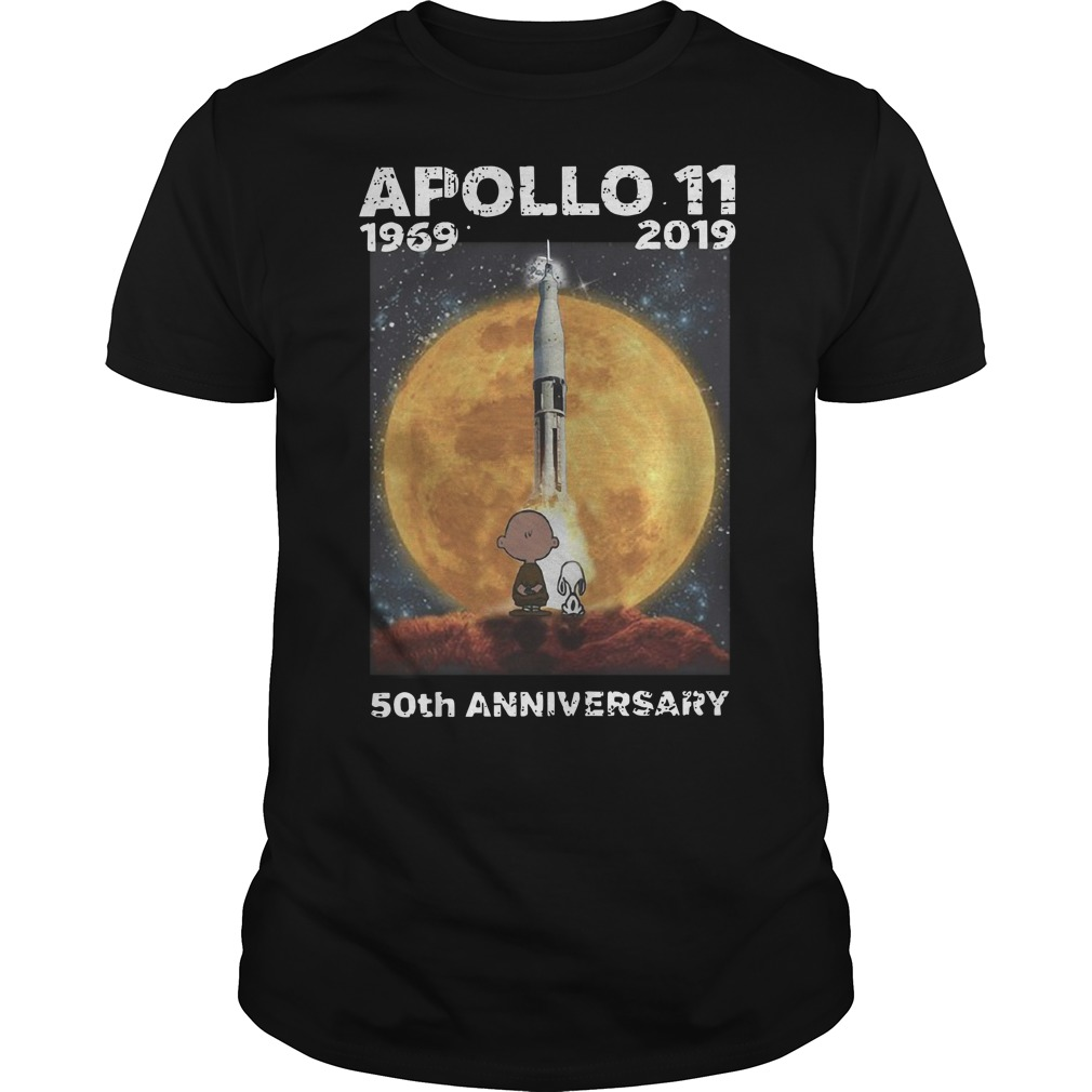 Charlie and Snoopy Apollo 11 50th anniversary Guys t-shirt