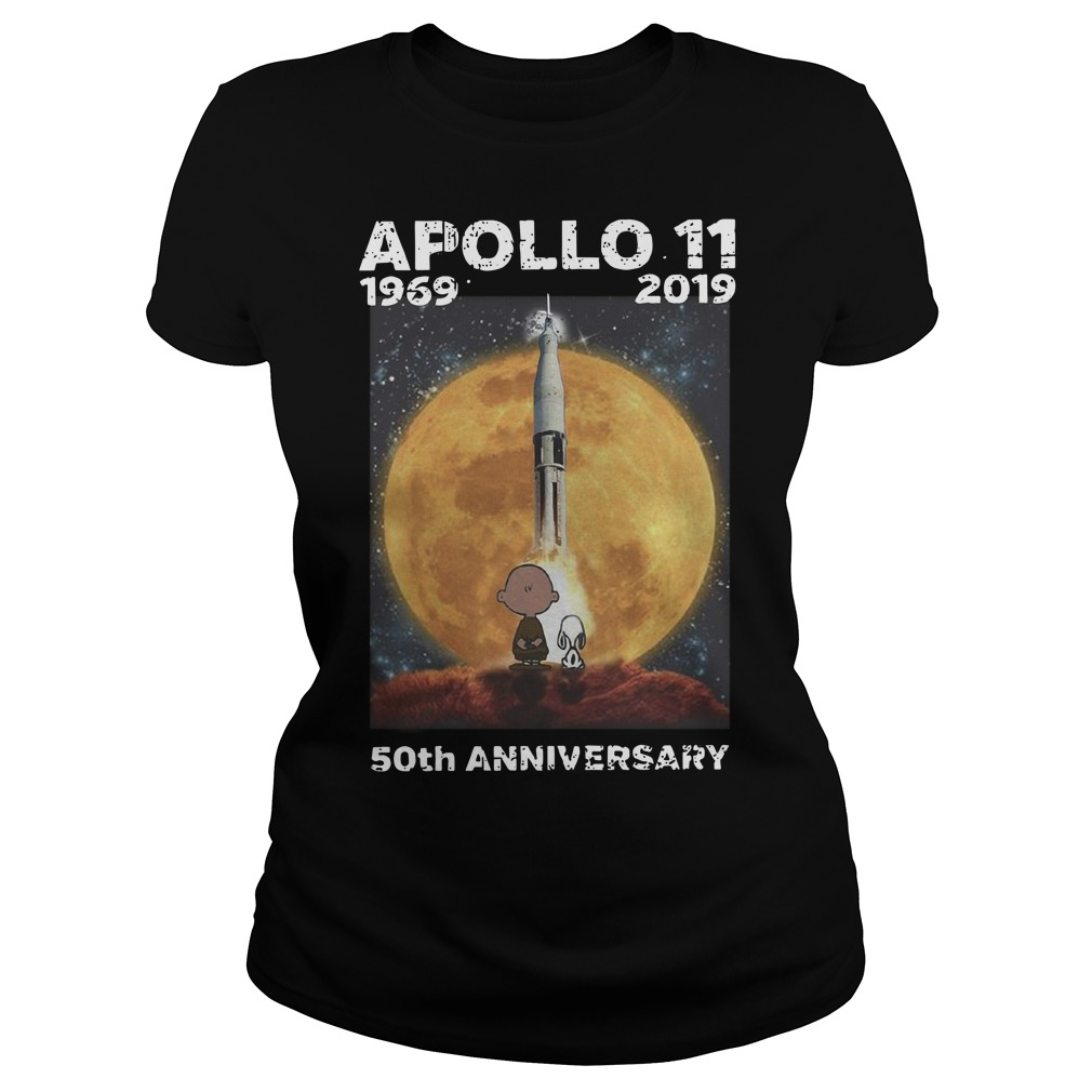 Charlie and Snoopy Apollo 11 50th anniversary Ladies t-shirt