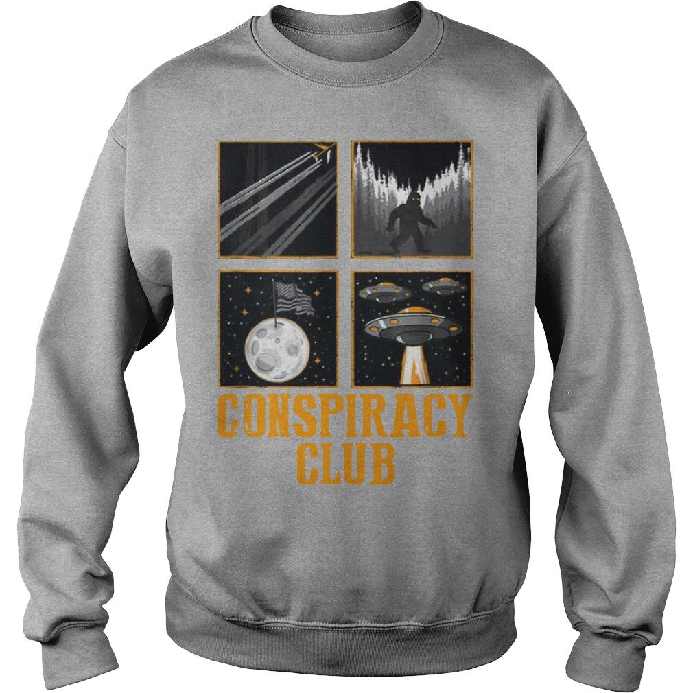 Conspiracy Club Bigfoot Ufo Aliens Moon Landing Sweater