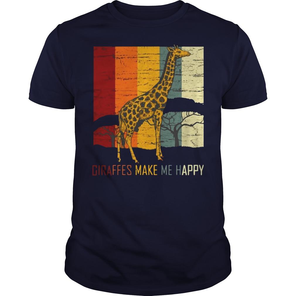Giraffes make me happy zoo keeper animal gifts giraffe premium Guys t-shirt