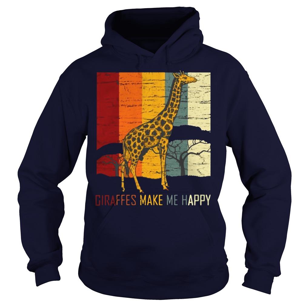 Giraffes make me happy zoo keeper animal gifts giraffe premium Hoodie