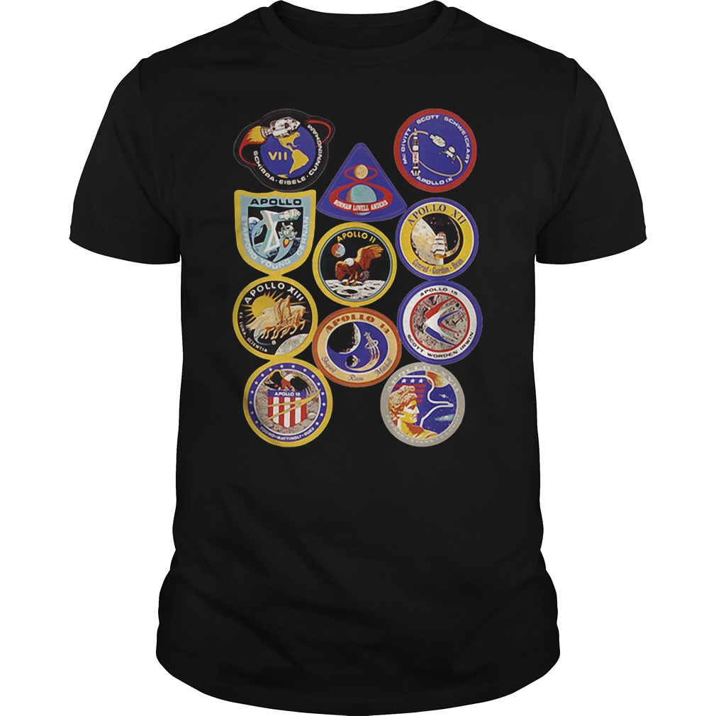 Nasa apollo mission patch badge space program first step on the moon shirt