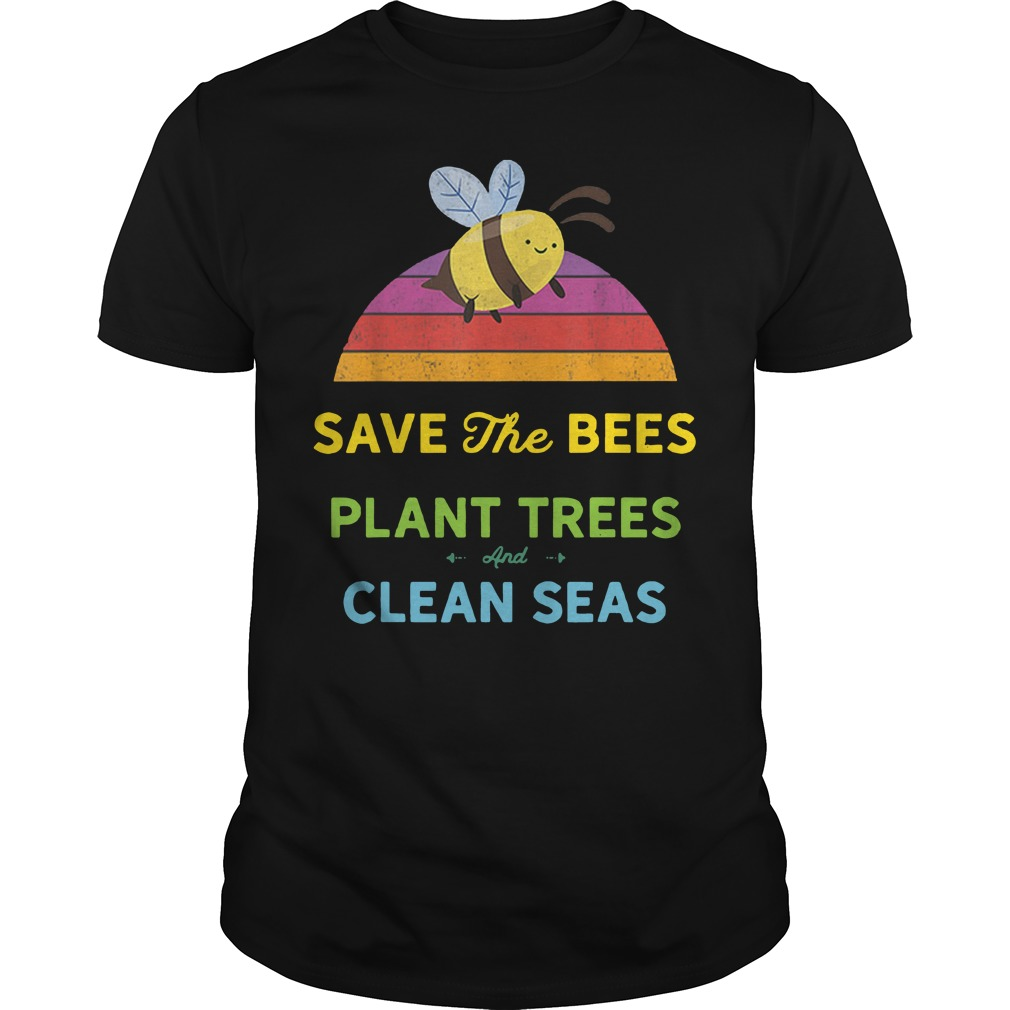 Save bees plant trees clean seas vintage weathered Guys t-shirt