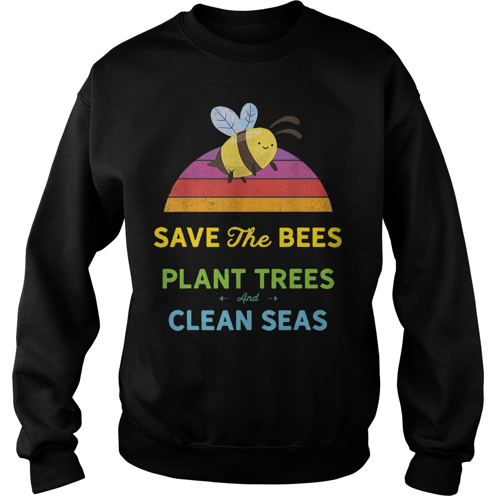 Save bees plant trees clean seas vintage weathered Sweater