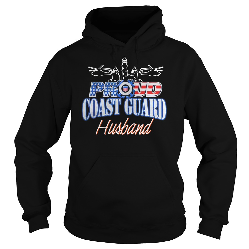 USA Proud Coast Guard Husband USA Flag Military Hoodie