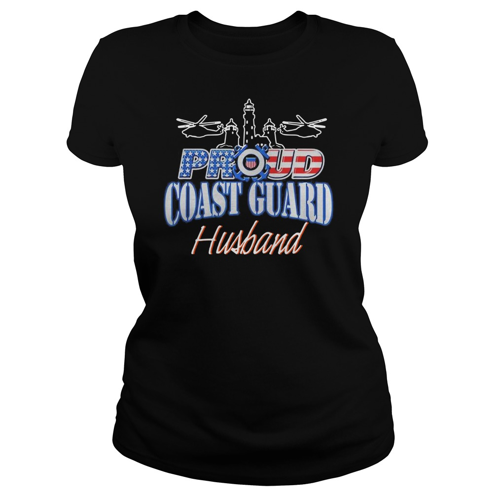 USA Proud Coast Guard Husband USA Flag Military Ladies t-shirt