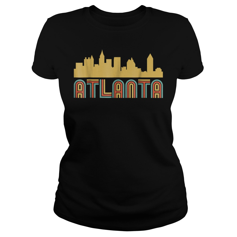 Vintage retro atlanta georgia skyline Ladies t-shirt