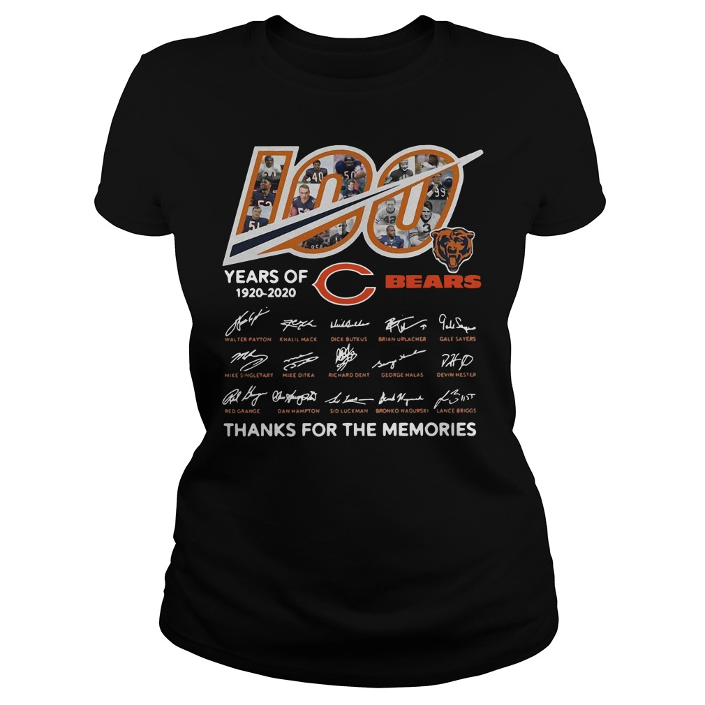 100 years of 1920-2020 Chicago Bears thank for the memories signatures Ladies t-shirt