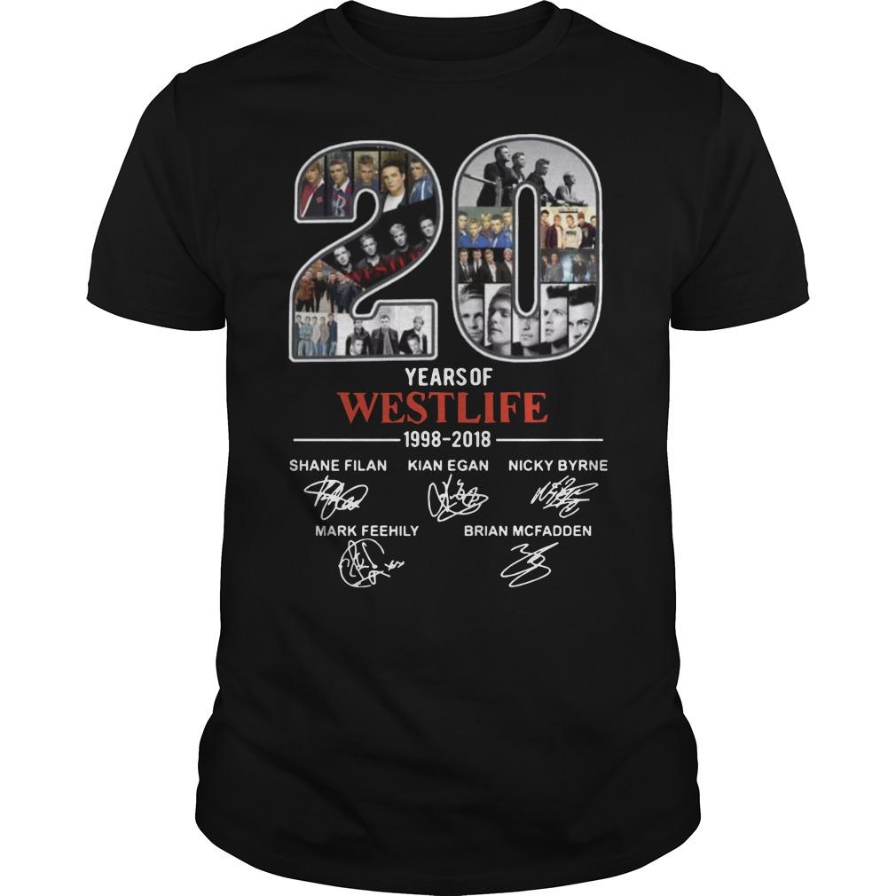 20 years of Westlife 1998 Guys t-shirt