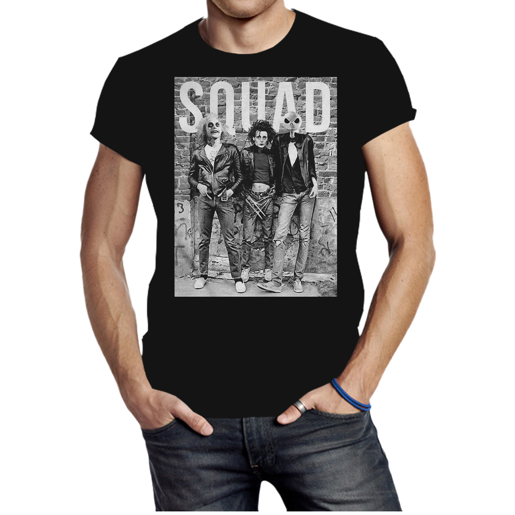 Beetlejuice Edward Scissorhands and Jack Skellington squad shirt