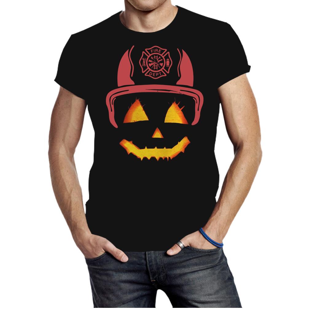Halloween Pumpkin firefighter fireman fire shirt