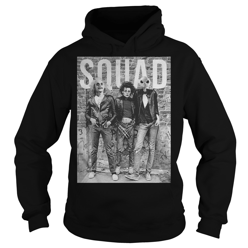 Beetlejuice Edward Scissorhands and Jack Skellington squad Hoodie