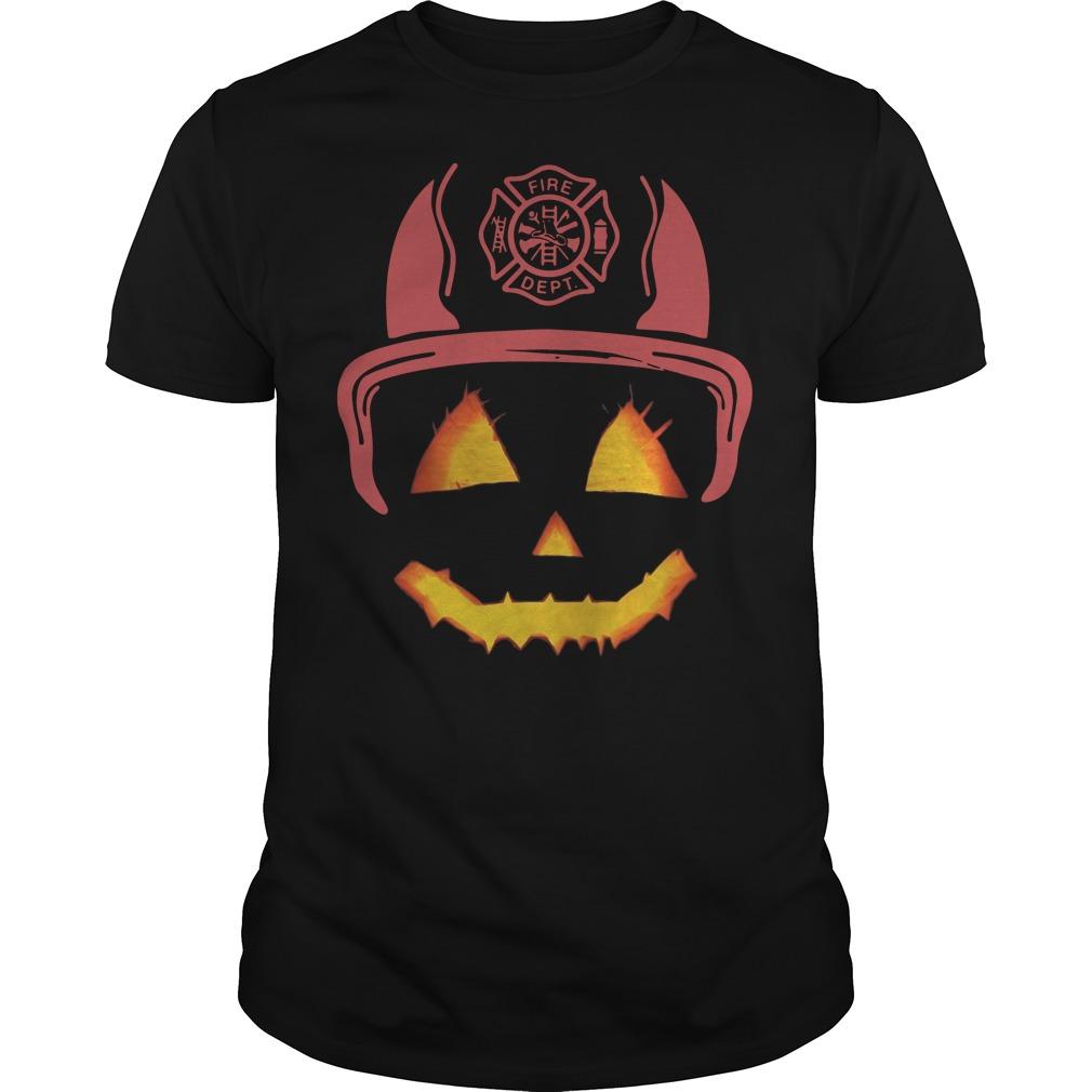 Halloween Pumpkin firefighter fireman fire Guys t-shirt