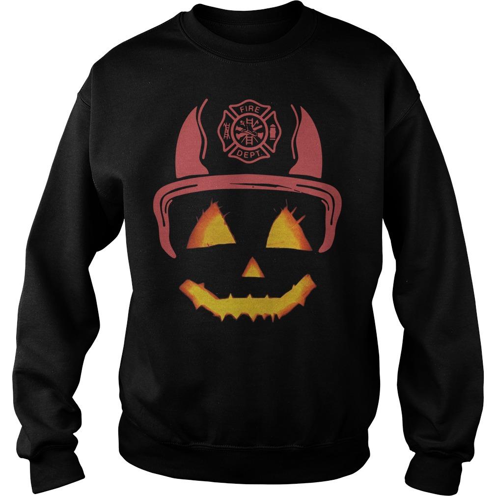 Halloween Pumpkin firefighter fireman fire Sweater