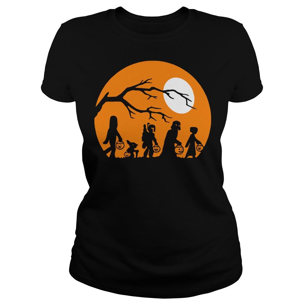 Halloween trick or treat star wars moon Ladies t-shirt