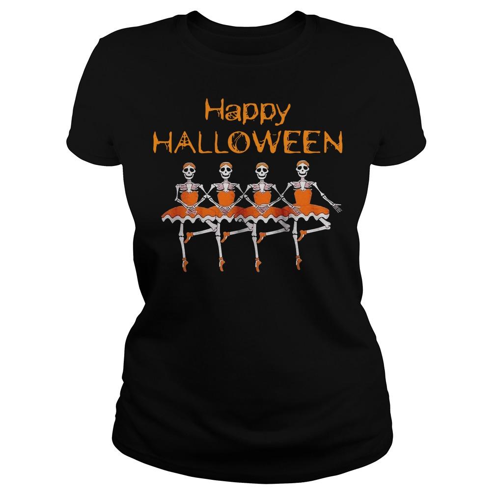 Happy Halloween Skeleton Ballet Ladies t-shirt